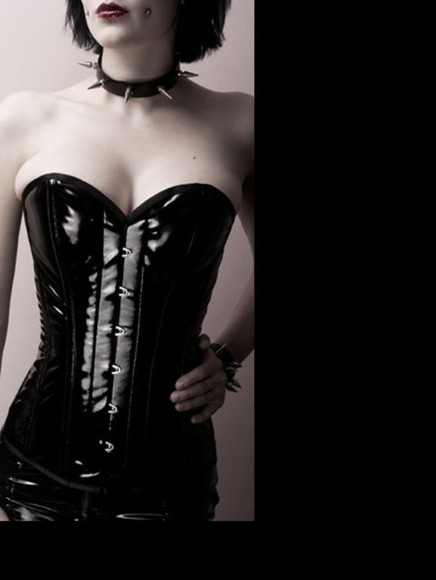 corset top wet-look goth