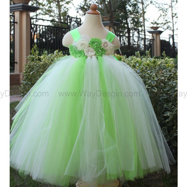 lime green flower girl dress