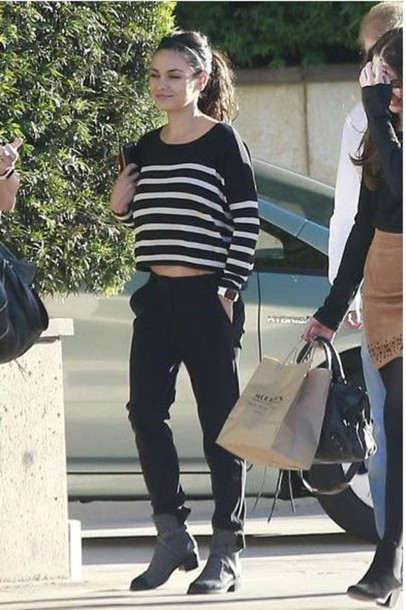 sweater stripes striped sweater mila kunis fall outfits
