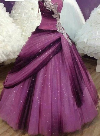 dress ball gown dress purple sparkly dress galaxy dress prom dress gown