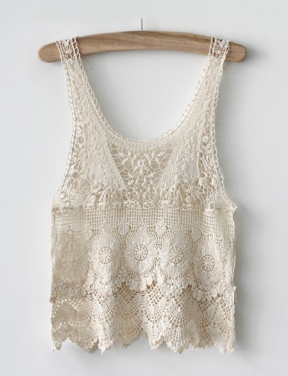 Hollow crocheted lace tank top on luulla