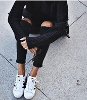 sweater,black sweater,jeans,denim,ripped jeans,black jeans,high waisted jeans,skinny jeans,boyfriend jeans,blue jeans,white ripped jeans,light blue jeans,out,pants,black high waisted pants,skinny pants,lookbook,streetwear,streetstyle,street goth,knee hole jeans,distressed jean,fall outfits,putfit,pinterest outfit,pinterest,tumblr,tumblr outfit,black outfit,winter outfits,sweater weather