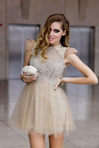 dress prom dress short pearl nude chiara ferragni tulle skirt beige the blonde salad