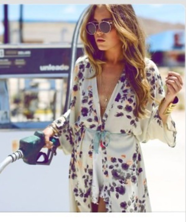 blouse flower kimono silk blouse violet romper clothes cardigan dress kimono flowers printed dress plunge v neck v neck dress floral dress ivory white satin silk fashion style pinterest top boho chic boho top sunglasses jumpsuit floral silky spring break socks gloves wrap dress floral wrap dress summer dress summer outfits gold bracelet cuff bracelet bracelets beach party maxi dress beach dress round sunglasses robe