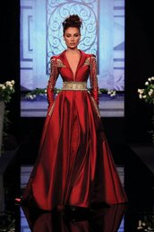 dress,randa salamoun,aw10,red,satin,gold,long,full,couture,embellished dress,embellishment,long sleeves