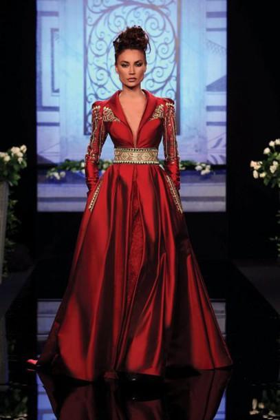 4c9984418d2 dress randa salamoun aw10 red satin gold long full couture embellished dress  embellishment long sleeves