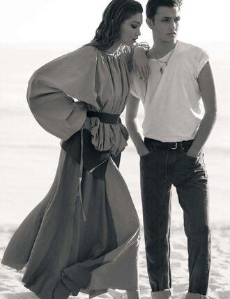 top skirt gigi hadid model anwar hadid editorial maxi dress mens t-shirt menswear