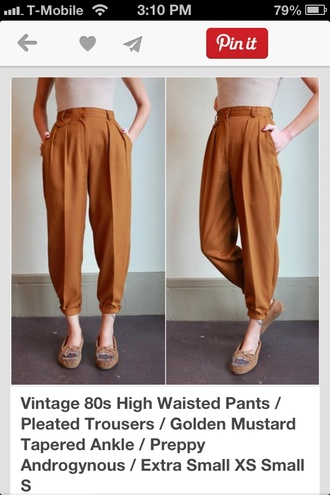 gold pants preppy mustard high waisted pants