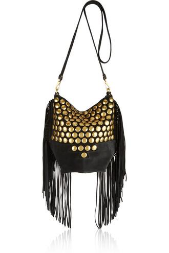 studded bag shoulder bag suede black