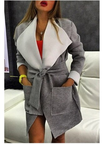 coat grey casual fashion long sleeves large lapel big pocket self-tie belt coat trendy fall outfits jacket warm winter coat