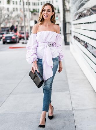 sydne summer's fashion reviews & style tips blogger top jeans jewels bag shoes off the shoulder top blouse ysl bag ysl high heel pumps black heels