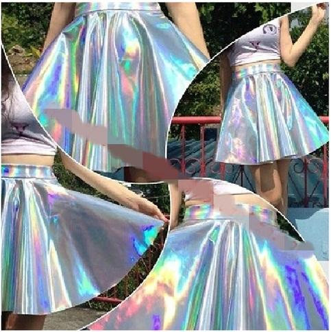 Holographic hologram silver metallic skirt clubbing from dejavu cat on storenvy