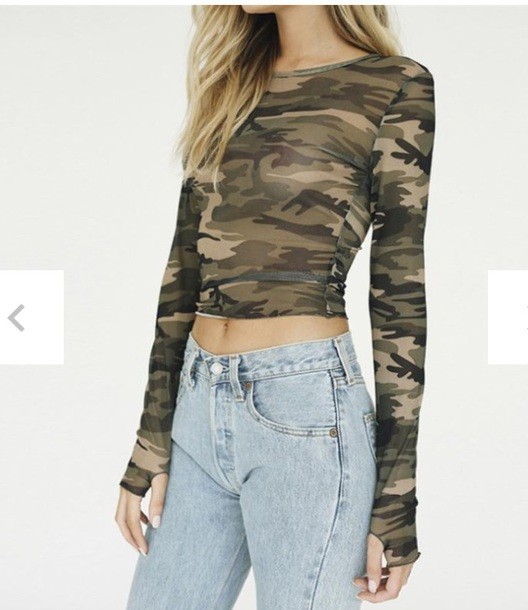 blouse girly camouflage crop tops crop cropped see through mesh sheer sheer blouse