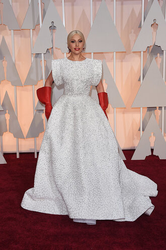 dress gown oscars 2015 lady gaga red carpet dress