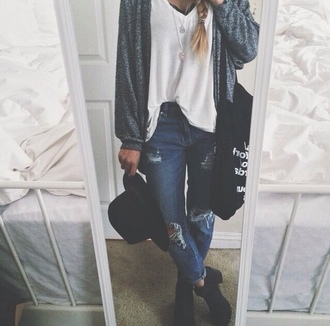 pants ripped jeans girl hat grunge