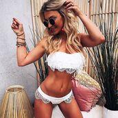 swimwear,bikini,white,lace,cute,ootd,summer,bandeau