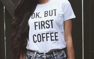 t-shirt white t-shirt black t-shirt cofee picture from we heart it coffee streetwear streetstyle white top