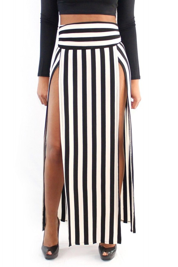 skirt black white sexy striped skirt long skirt