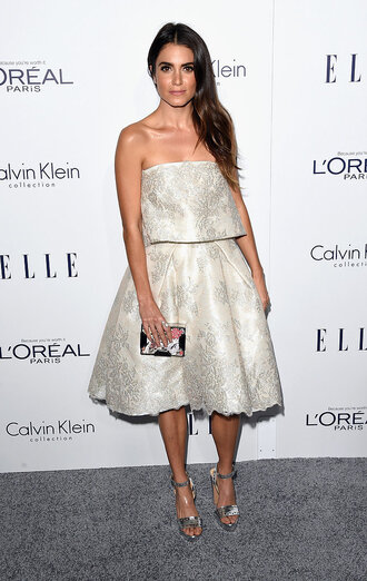 dress strapless silver sandals platform sandals nikki reed shoes clutch bag