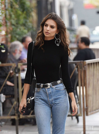 sweater jeans earrings fall outfits model off-duty emily ratajkowski