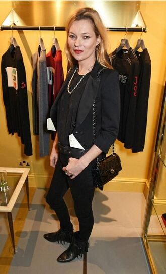 shoes boots fringe shoes ankle boots all black everything kate moss fall outfits