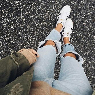 jeans tumblr sneakers adidas adidas shoes adidas superstars low top sneakers white sneakers ripped jeans blue jeans denim