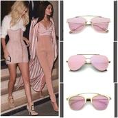 sunglasses,round sunglasses,pink,rose gold,rose,gigi hadid,kendall jenner,streetstyle,coachella