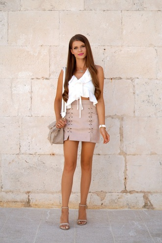 only my fashion style blogger top skirt bag shoes fall outfits mini skirt white top shoulder bag sandals high heel sandals