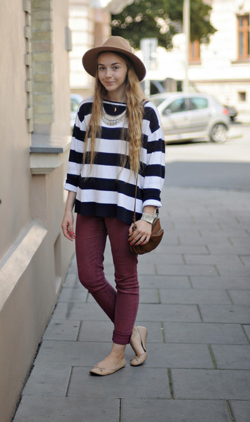 striped sweater ballet flats sweater hat shoes
