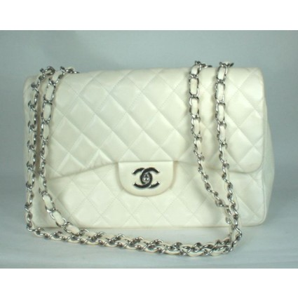 Chanel Quilted White Lambskin Single Flap Bag | Portero Luxury