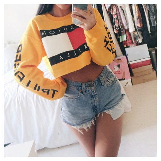 sweatshirt crop tops tommy hilfiger shorts fashion killa yellow cropped sweater yellow tommy hilfiger crewneck shirt blouse