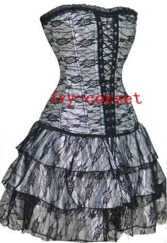 Brocade Gorgeous plastic boned lace up back Corset with mini skirt 2162, | eBay