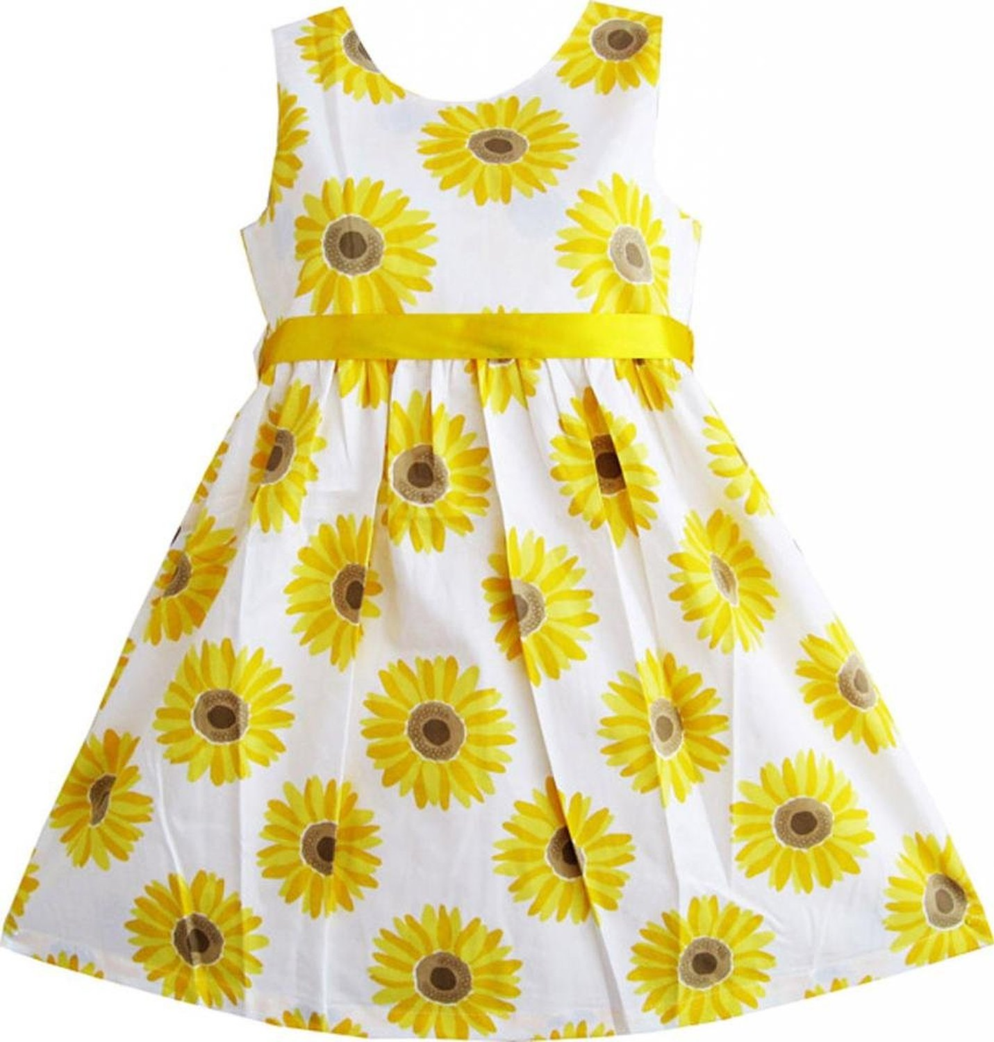 Amazon.com: Sunny Fashion Little Girls' Dress Yellow Sunflower School Uniform Party: Playwear Dresses: Clothing