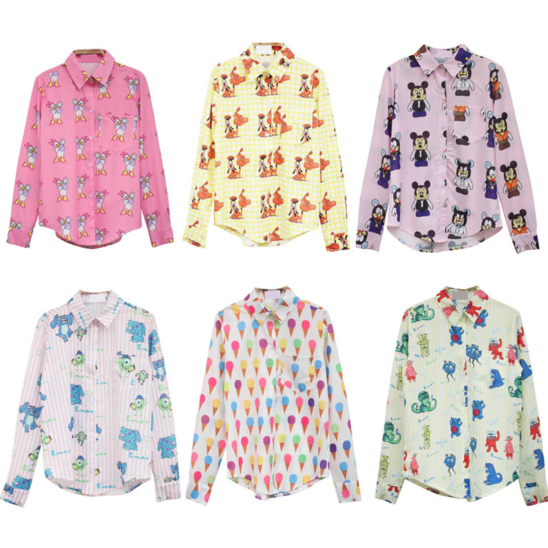 2013 ice cream doodle HARAJUKU full body cartoon print pattern stripe thin long sleeve Shirts GIRL WOMEN free shipping-inBlouses & Shirts from Apparel & Accessories on Aliexpress.com