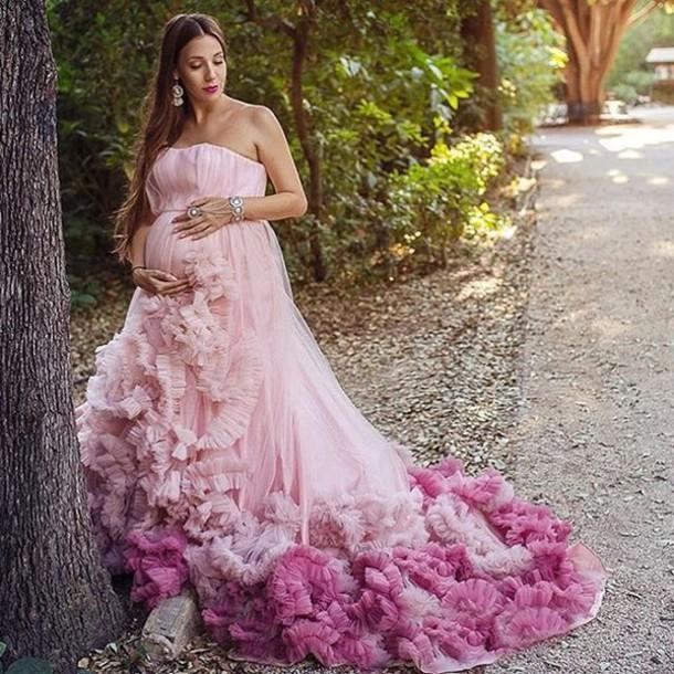 Long Pink Maternity Dresses