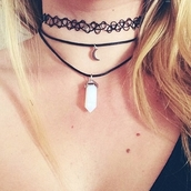 jewels,moon necklace,necklace,choker necklace,chakra stone,jems,crystal quartz,black,jewelry,layered,black choker,boho,boho jewelry,bohemian,grunge,grunge jewelry