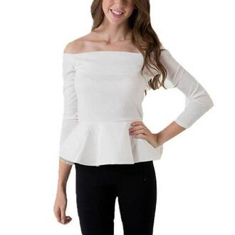 top summer casual top white top long sleeves sexy