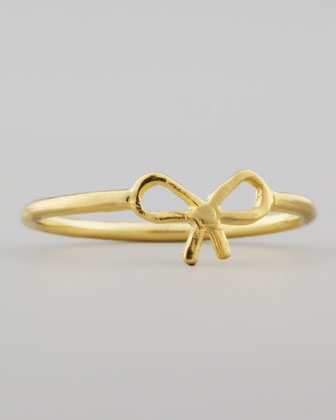 Dogeared Small Gold-Dipped Bow Ring - Neiman Marcus