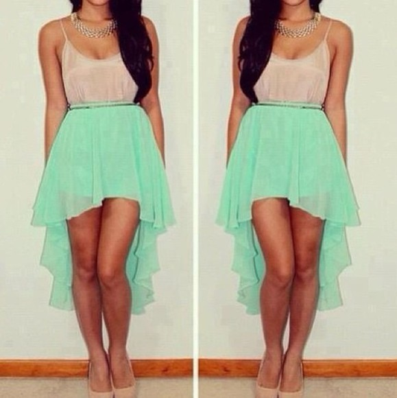 dress high-low high-low dresses hi low dresses hi low dress hi-low high-low skirt high low hi low hem mint mint green mint green skirt