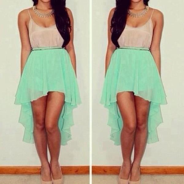 dress high-low dresses high low high low high low skirt hi low dresses hi low hem hi low dress hi-low mint mint mint green skirt