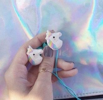earphones unicorn unicorn cover grunge rainbow tumblr