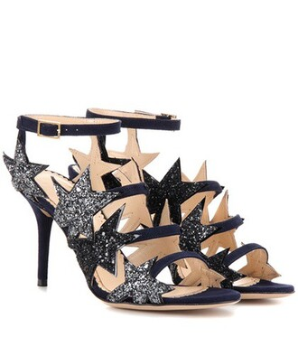 embellished sandals suede blue shoes