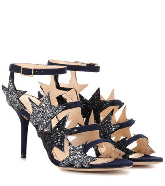 Charlotte Olympia Twinkle Toes Embellished Suede Sandals in blue