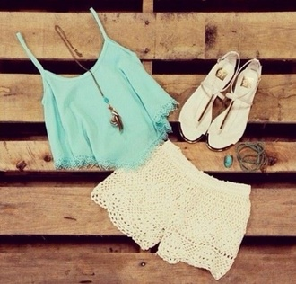 vest shorts top sandals style lace shorts