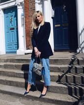 jacket,blazer,double breasted,white blouse,jeans,pumps,high heel pumps,handbag