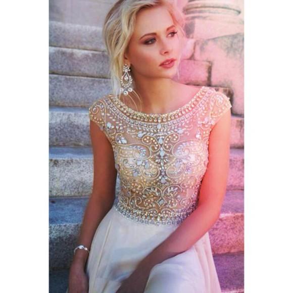 white dress jewels prom