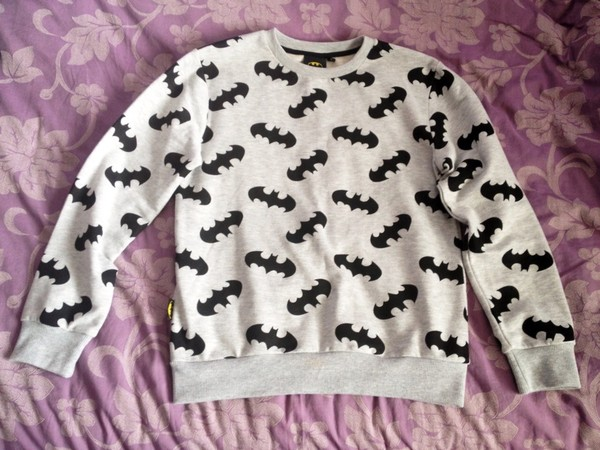 sweater batman black and white grey black cute