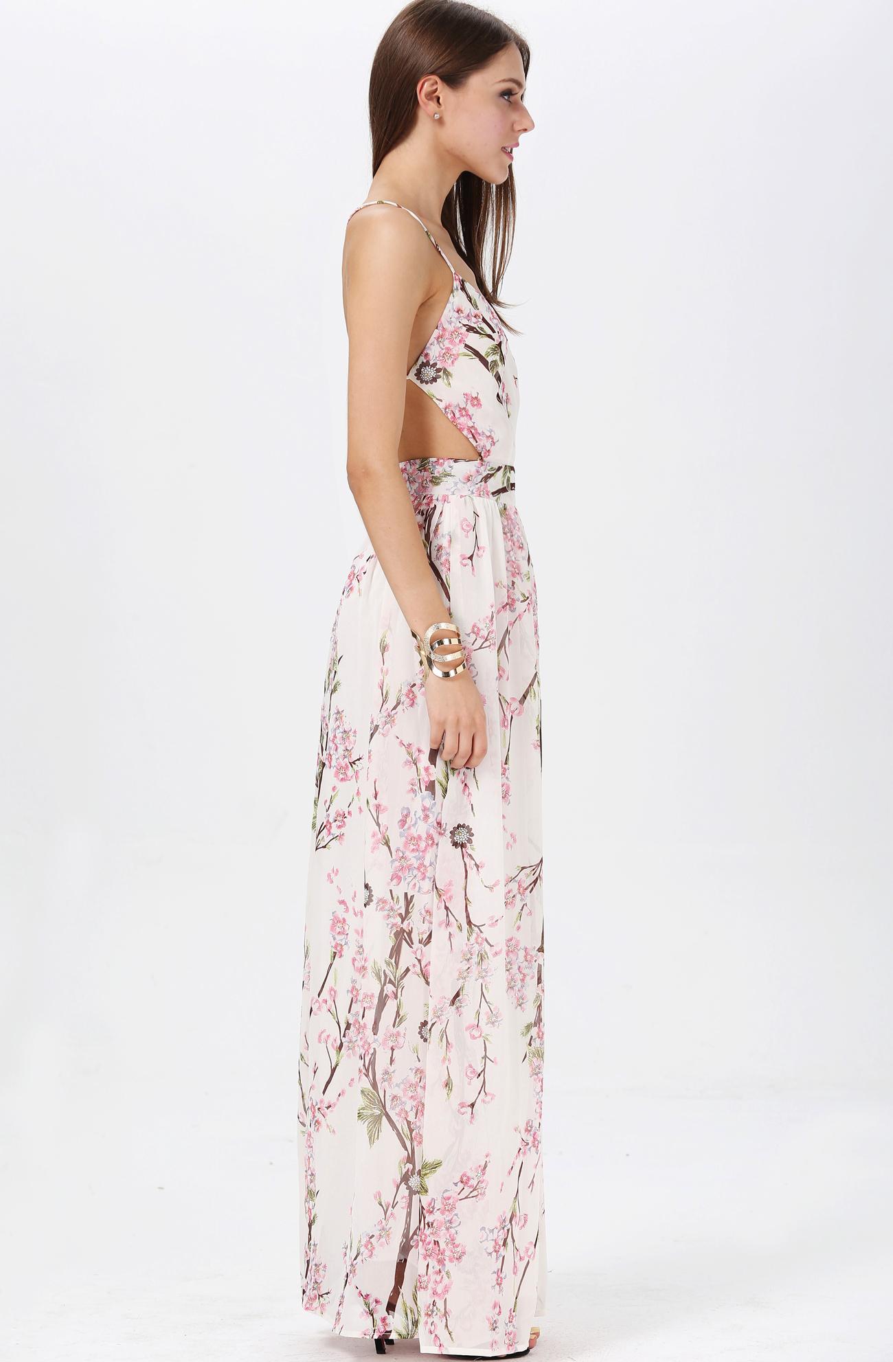 Apricot Florals V-neck Spaghetti Straps Backless Maxi Dress - Sheinside.com