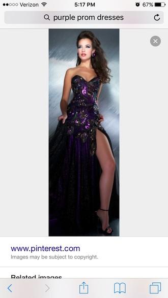 dress prom dress black dress purple dress strapless dress strapless slit dress long prom dress