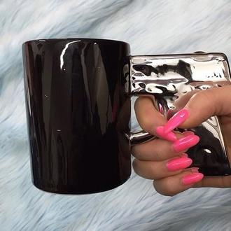 home accessory gun mug accessories nails pretty cup coffee tea tea mug